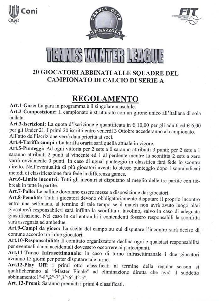 TENNIS WINTER LEAGUE